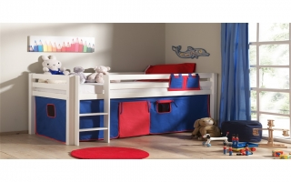 lit mi hauteur pin bleu blanc rouge. Black Bedroom Furniture Sets. Home Design Ideas