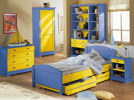 ensemble meubles chambre pour enfant camille l on finition jaune et bleu. Black Bedroom Furniture Sets. Home Design Ideas