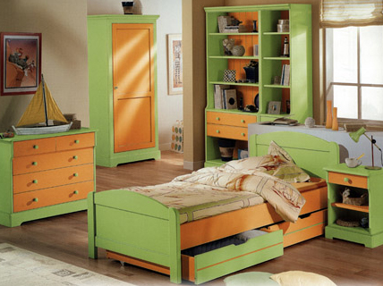 Ensemble meuble chambre d 39 enfant camille l on finition vert anis et orange for Chambre orange et vert anis