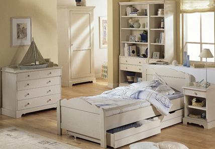ensemble meubles de chambre enfant eugnie finition blanc vieilli - Meuble Chambre Blanc