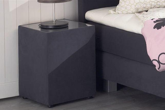 chevet en tissu dessus verre 13 couleurs boxspring. Black Bedroom Furniture Sets. Home Design Ideas