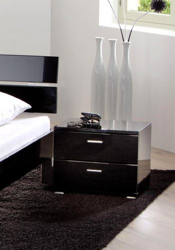 table de chevet movie gloss onna chrome noir brillant. Black Bedroom Furniture Sets. Home Design Ideas