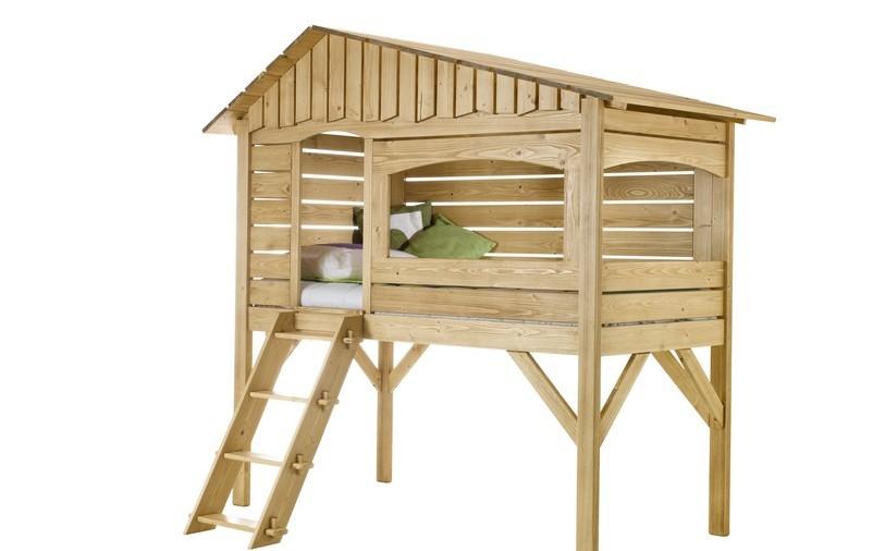 Lit cabane en pin massif vernis naturel - Cabane de lit ...