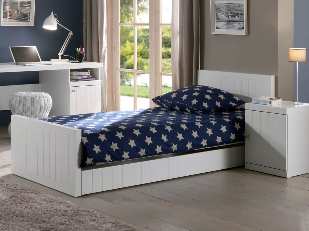 lit enfant en bois blanc robin avec tiroir. Black Bedroom Furniture Sets. Home Design Ideas