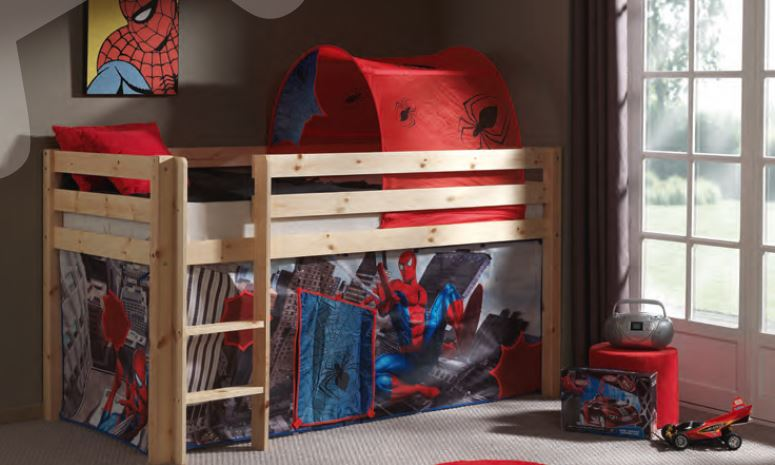 lit mi hauteur en pin verni naturel spiderman. Black Bedroom Furniture Sets. Home Design Ideas