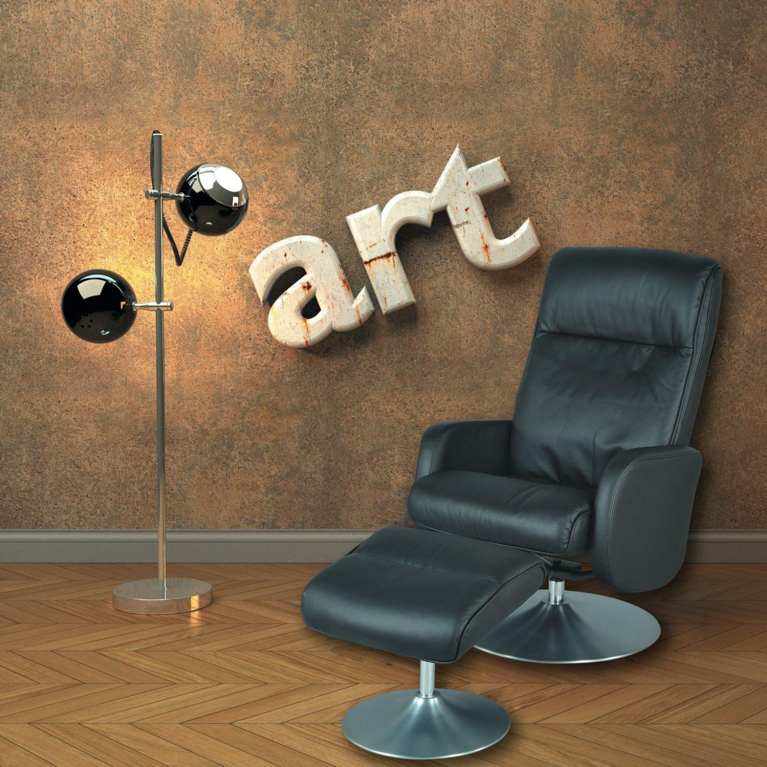 fauteuil relax en cuir inclinable et pivotant avec pouf le zappeur axel confort. Black Bedroom Furniture Sets. Home Design Ideas
