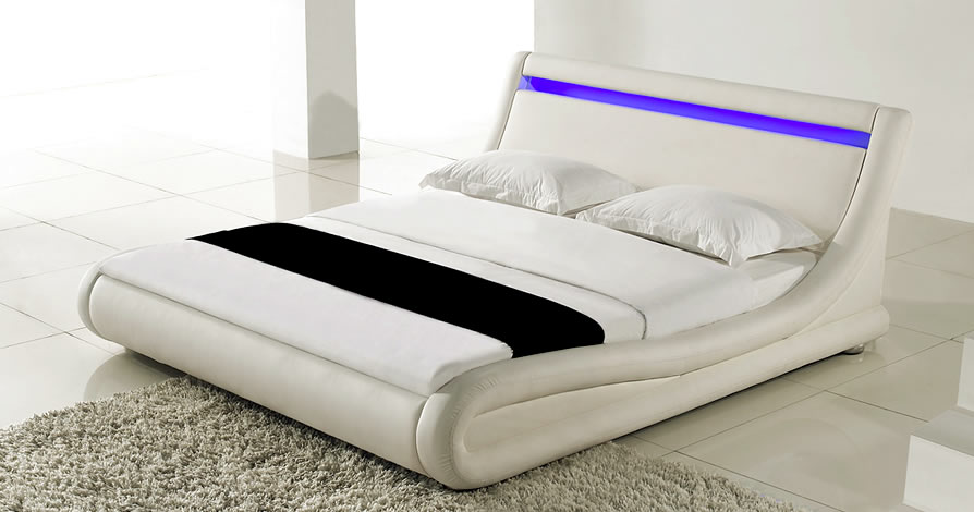 lit moderne avec led blues. Black Bedroom Furniture Sets. Home Design Ideas