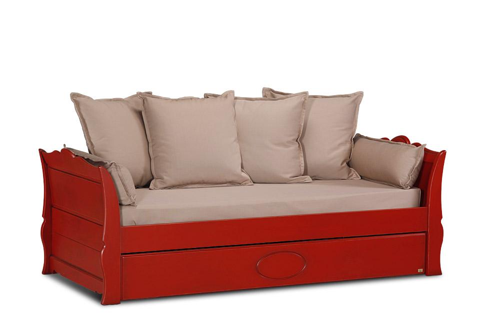 lit gigogne souffle d 39 ocre avec dosseret 2 matelas 1 housse de matelas 4 coussins de. Black Bedroom Furniture Sets. Home Design Ideas