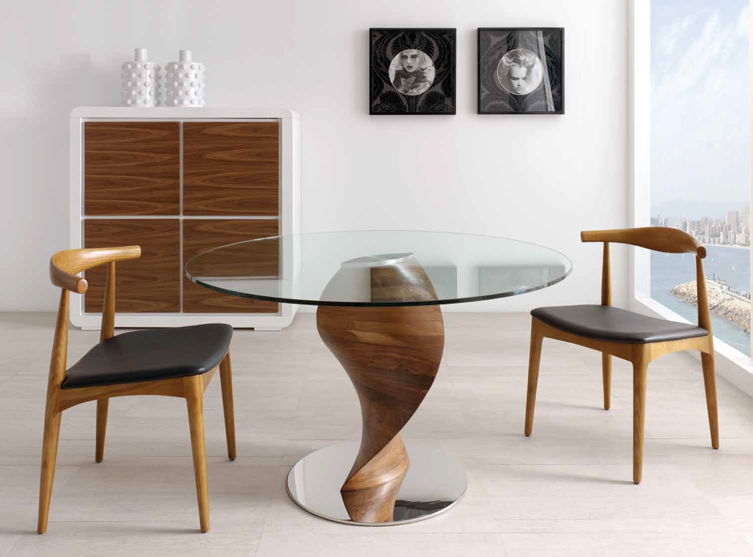 table ronde bois et verre tornade. Black Bedroom Furniture Sets. Home Design Ideas