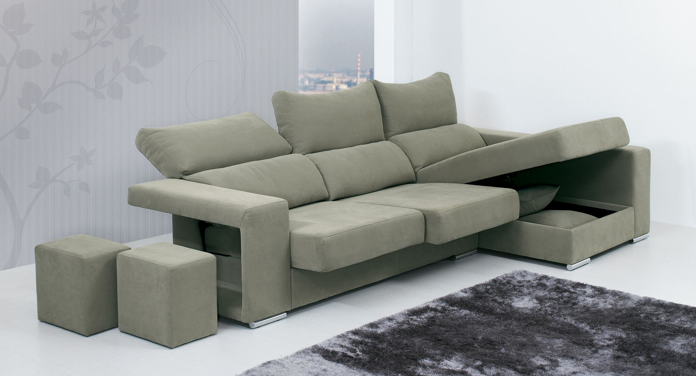 Canap m ridienne coffre 3 places inclinables avec 2 poufs for Canape 3 places avec meridienne