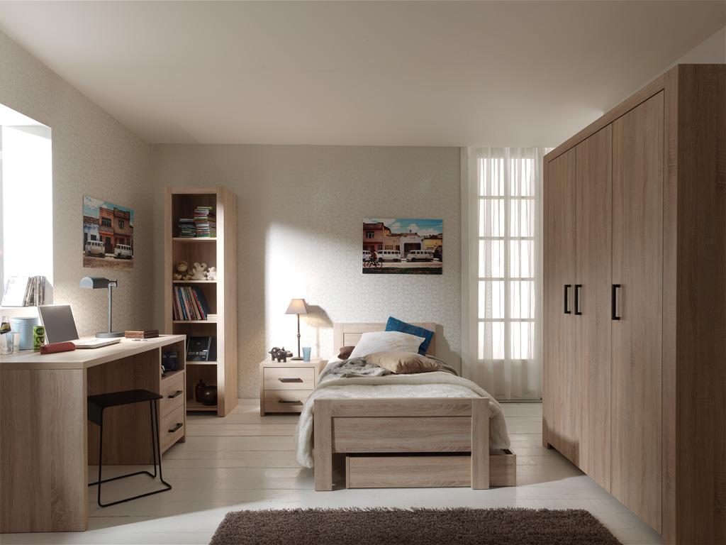 Chambre complète ado 5 pièces aline chêne clair