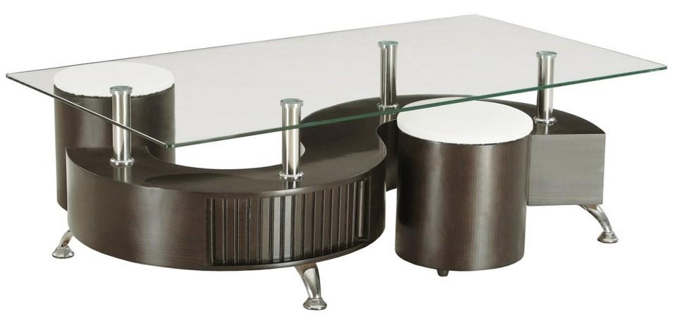 Table basse 2 poufs orph d cor wengu domus mobili for Table verre 6 poufs