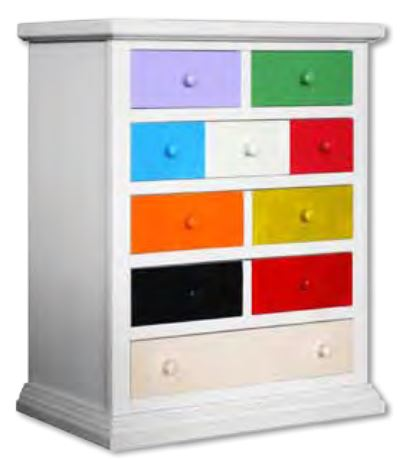 commode multicolore arlequin 10 tiroirs domus mobili. Black Bedroom Furniture Sets. Home Design Ideas