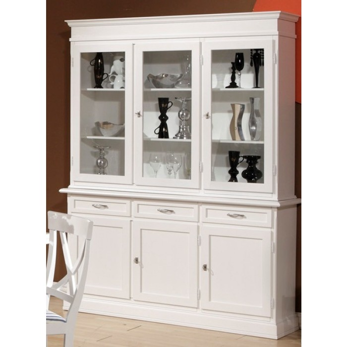 vaisselier trois portes trois tiroirs laqu blanc 1831 domus mobili. Black Bedroom Furniture Sets. Home Design Ideas