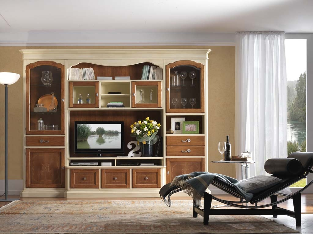 meuble de salon tv et biblioth que bicolore patin domus mobili. Black Bedroom Furniture Sets. Home Design Ideas