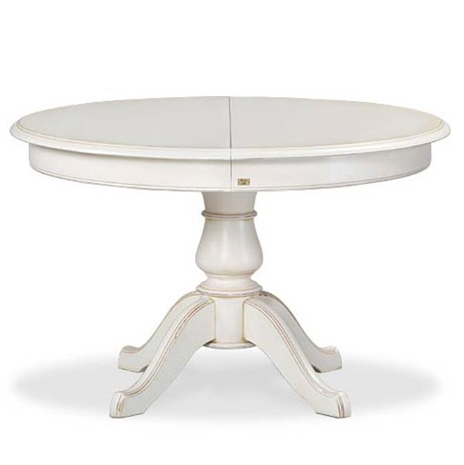 Table ronde blanche avec rallonge pied central table de lit for Table ronde laquee avec rallonge