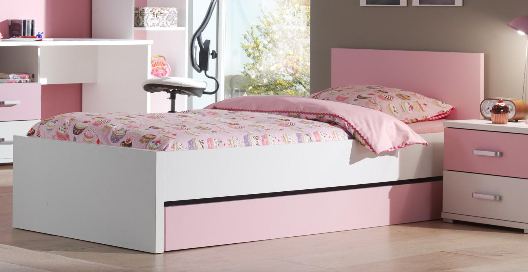 tiroir pour lit enfant blanc et rose valentine. Black Bedroom Furniture Sets. Home Design Ideas
