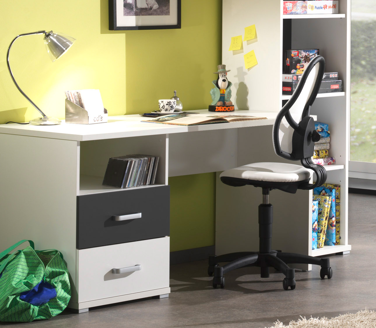 bureau gris et blanc josh. Black Bedroom Furniture Sets. Home Design Ideas