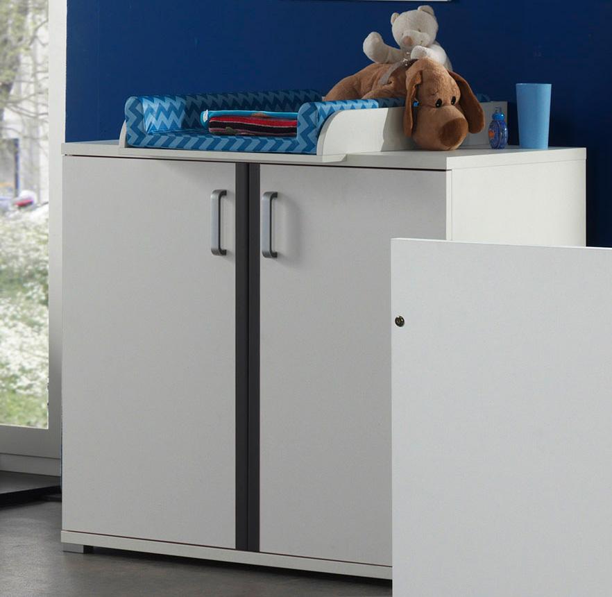 commode grise et blanche josh. Black Bedroom Furniture Sets. Home Design Ideas