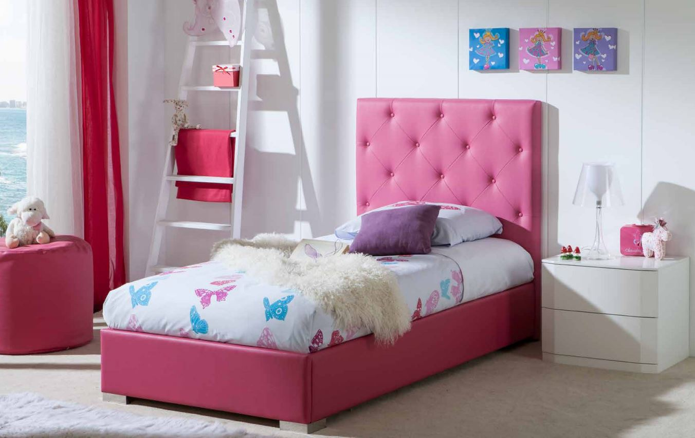 lit avec t te de lit capitonn rose raquel. Black Bedroom Furniture Sets. Home Design Ideas