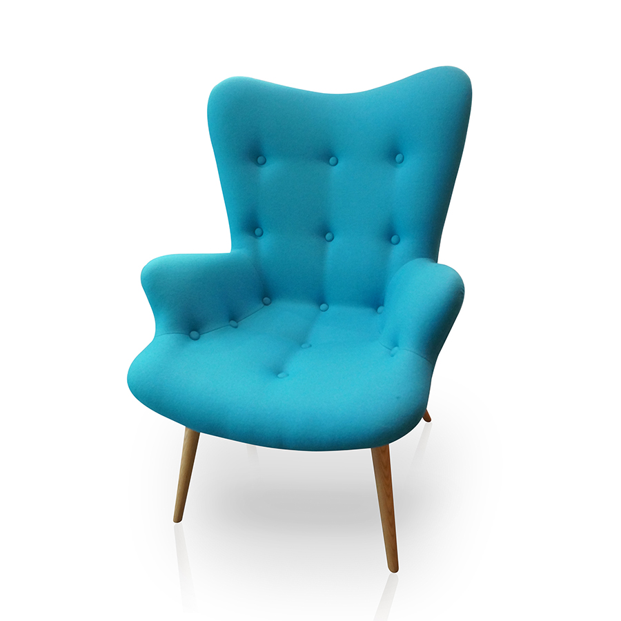 Fauteuil Scandinave Vintage Turquoise