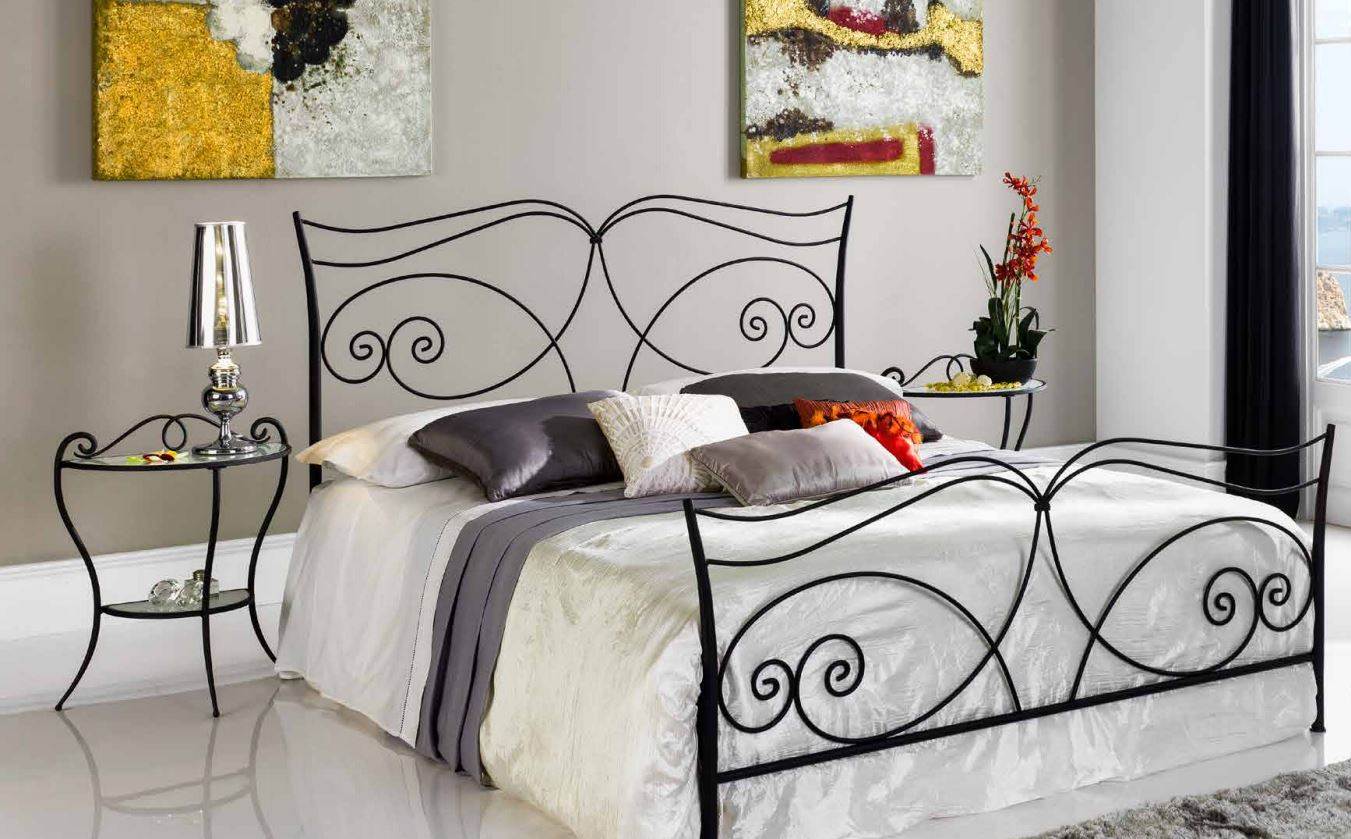lit en fer forg noir mariola. Black Bedroom Furniture Sets. Home Design Ideas