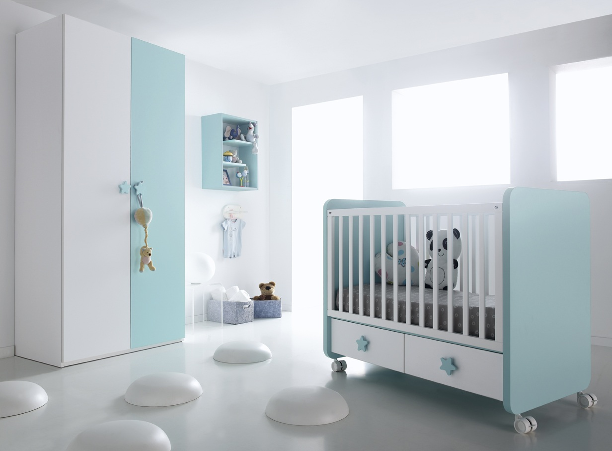 Chambre b b marina turquoise et blanc - Chambre bebe turquoise ...