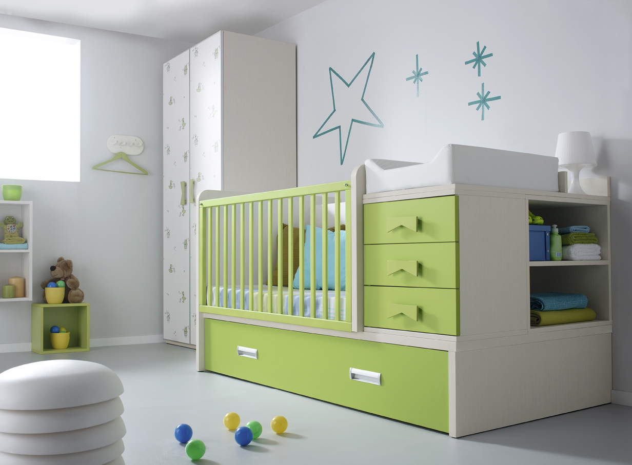 Lit b b avec table langer vert anis et blanc katmandou - Lit bebe table a langer integree ...