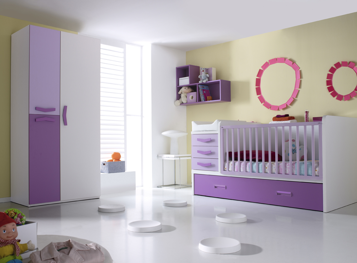 Lit b b avec table langer lilas et blanc violetta - Lit bebe table a langer integree ...