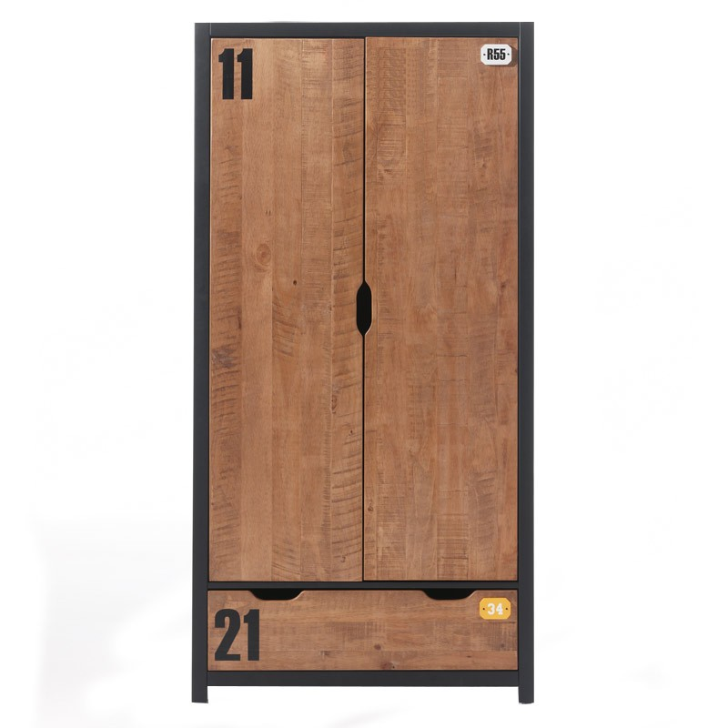 armoire 2 portes style industriel alex. Black Bedroom Furniture Sets. Home Design Ideas