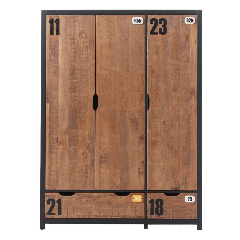armoire 3 portes style industriel alex. Black Bedroom Furniture Sets. Home Design Ideas