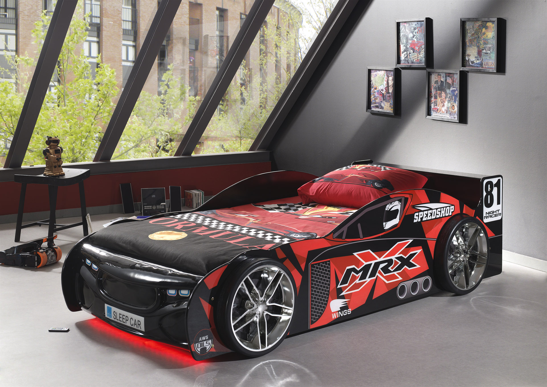 lit voiture tuning black avec led. Black Bedroom Furniture Sets. Home Design Ideas
