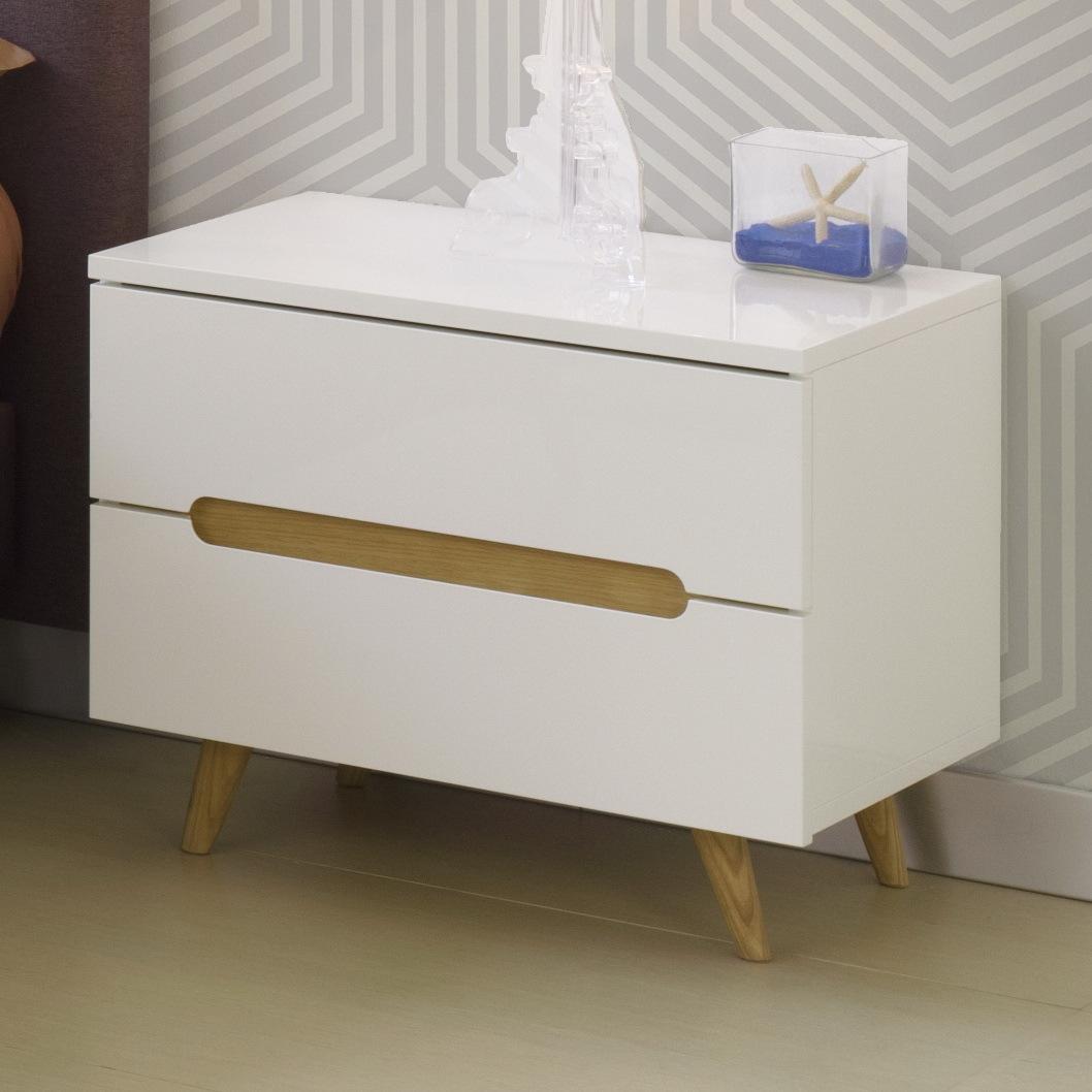chevet nordic bois et blanc. Black Bedroom Furniture Sets. Home Design Ideas