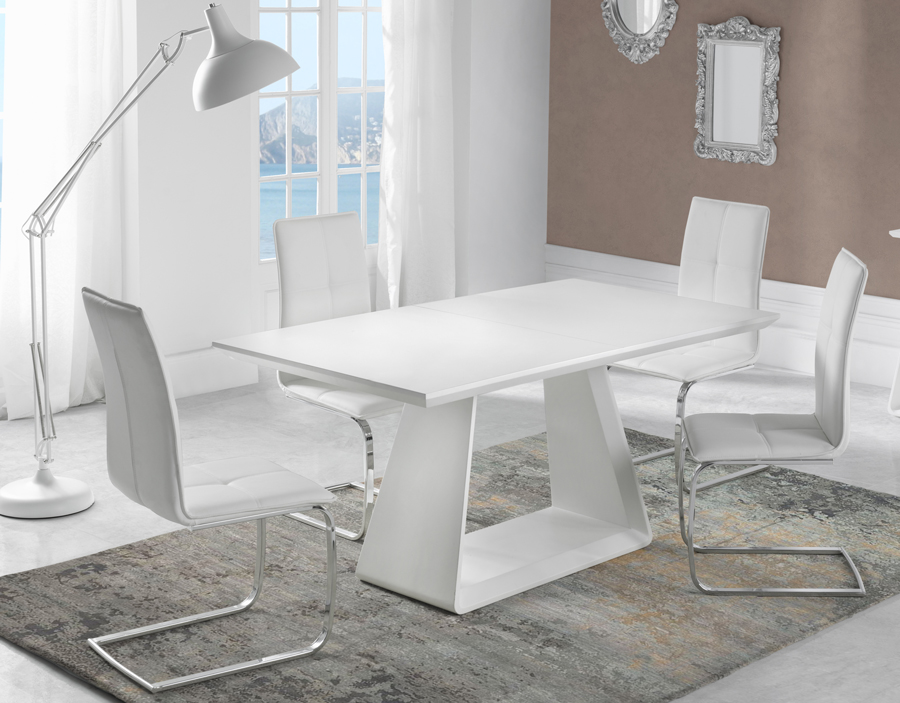 Table de salle manger extensible bois blanc laqu mat for Table salle a manger contemporaine extensible