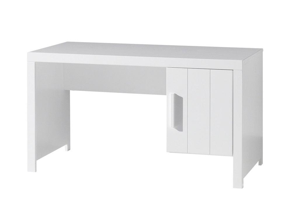 Bureau bois laqué blanc avec caisson porte erick