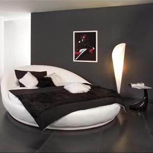 lit rond hollywood blanc modular. Black Bedroom Furniture Sets. Home Design Ideas